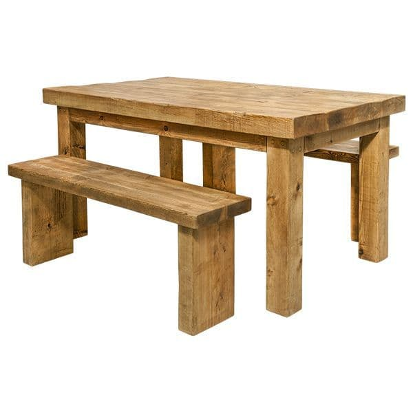 Chopwell Rustic Wooden Dining Table And Benches
